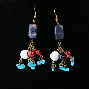 Vintage Jewelry - Vintage Sodalite and Turquoise Stone Earrings